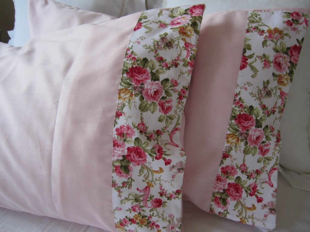 Pale pink pillow cases shabby chic Red pink floral by nurdanceyiz