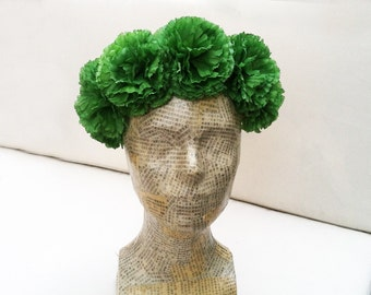 Green Pom Pom Flower Crown, Floral Crown, Green Flower Crown, Green Headband, Costume, Pom Poms, Irish, Green Headpiece, St. Patrick's Day.