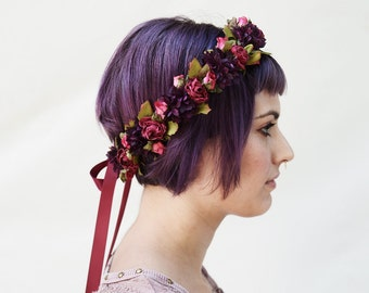 Flower Crown, Floral Crown, Boho, Flower Hair Wreath, Pink Rose & Aubergine, Dirndl, Purple, Flower Circlet, Boho, Pink, Rustic, Bride