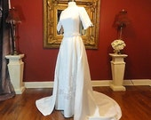 Vintage 60s White Linen Wedding Dress with Chapel Train Embroidered Lace