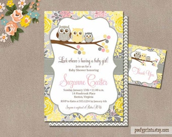 Baby Girl Owl Shower Invitation / Printable Owl Baby Shower Invitation / Digital Invitation FREE Favor Tags / Yellow Gray Pink // Suzanne