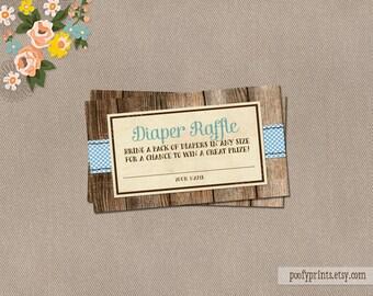 Baby Boy Diaper Raffle Ticket - INSTANT DOWNLOAD - Jamie Collection