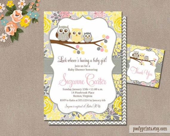 ... Digital Invitation with FREE Favor Tags / Yellow Gray Pink // Suzanne