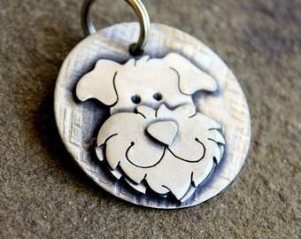 Dog Tag - Dog ID Tag - Pet Tag - Custom dog tag- Schnauzer dog tag or key chain