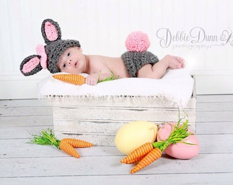 Crochet baby bunny outfit baby prop for photography newborn prop baby prop photo prop first birthday cakesmash prop baby shower gift