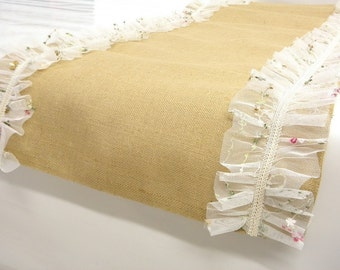 Ruffled tulle Burlap Table Runner modern rustic, embroidered tulle border wedding table decoration spring easter decoration