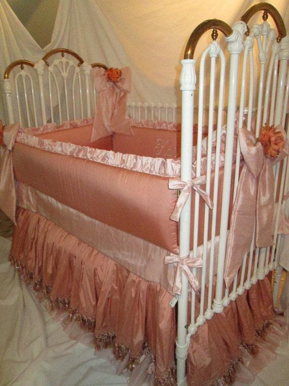 SALE-Embroidered Luxury Crib Bedding in Silk trimmed