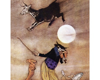 Nursery Rhyme Print | Cat Fiddle Cow Moon | Arthur Rackham