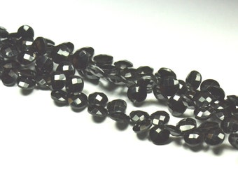 8mm 40 Black Spinel Briolettes round faceted SPB001