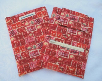 iPad Mini case / cover / sleeve with zippered storage pocket - red stamps