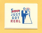 Funny Wedding Card - SH%T JUST Got Real - Bride & Groom - Wedding Congratulations Card - Funny Congratulations Card - Funny Wedding - Mature
