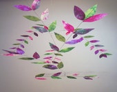 Pansy-Violet-Limoncello Hand Dyed Dappled Leaf Mobile