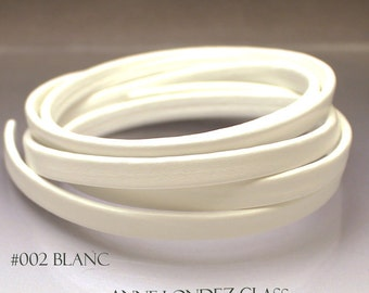 1 ft Flat recycled leather strap white leather cord Flat leather cord 6mm 6x2.5mm stringing supplies 6mm White cord leather for bracelet