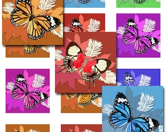 Butterflies Winter Square Sizes Digital Images Collage Sheet JPEG (13-36)