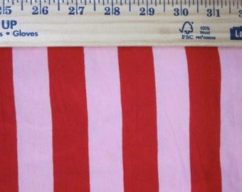 """apx. 1"""" Red and Pink Cotton Lycra Stripe Knit Fabric"""