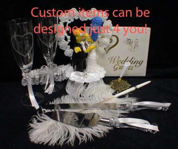 Marge & O Homer SIMPSONS Wedding Theme Pick Cake Topper Or