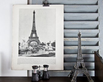 FRENCH 1893 Photo Print Eiffel Tower Paris French description