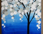"""Blue and Grey Textured Tree Art, Original Painting on Canvas, 20x24"""" READY TO SHIP"""