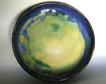 A Plate Full of Sunlight, blue, yellow, green, porcelain, large, platter, serving, oven safe, food safe, dishwasher safe, born of fire