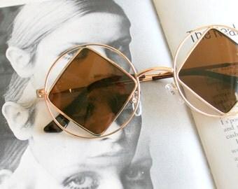 1990s DIAMOND Sunglasses.....john lennon. triangle. round lens. rudeboy. retro sunglasses. golden sunglasses. hippie. boho. urban. hipster.