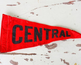 Vintage CENTRAL Pennant..retro. flag. city. wall art. home decor. kitsch. novelty. state. retro home. sun. vintage pennant. school. college
