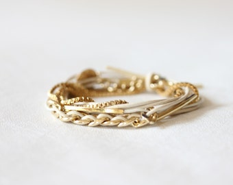 Chain, Coin Charm Leather Bracelet(3 colors)