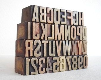 A to Z, 0 to 9 - One of a Kind - 36 Vintage Letterpress Plastic Letters Alphabets Collection - Mini Series - VM73