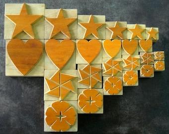 40% OFF - 24 Wooden Designer Letterpress Blocks - 6 Hearts, 6 Stars and 12 Flowers - VM117