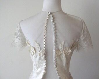 1950's White Lace Wedding Dress XS S