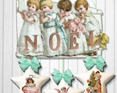 printable Christmas ornaments Holiday banner bunting   DIY mobile craft project kit