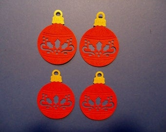 4 Holly Bauble Christmas Tree Ornament Die Cuts Embellishments for Scrapbooking Cards and Paper Crafts