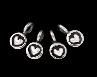 8 of Karen Hill Tribe Silver Heart Imprint Charms 5 mm. :ka1741