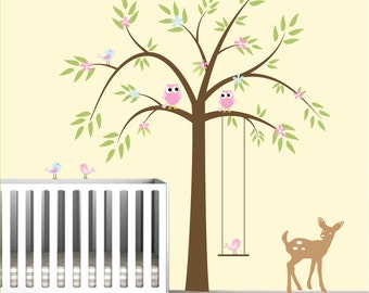 Tree Decal Vinyl Wall Decals Children Wall Stickers with Swing,Owl,Birds,Fawn