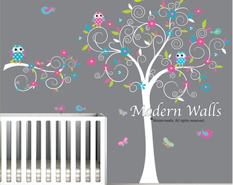 Tree wall decal-Wall Decals Sticker Vinyl wall decal with Flowers,Owls,Birds-e93