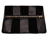 BLACK LEATHER CLUTCH real leather evening bag Black Envelope Clutch suede striped