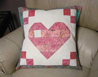 Pink and White Quilted Heart Pillow Cover