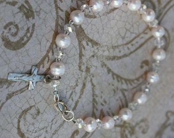 Lovely Pale Pink Pearl Bracelet with Rondelle Crystals and Sterling Silver Crucifix