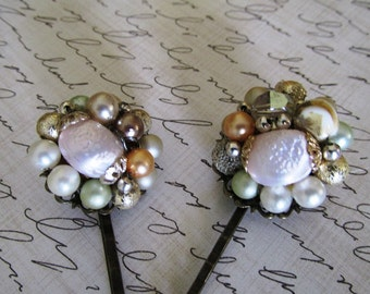 Hair pins Baby Pink  and baby green Vintage Bobby Pins- Set of Two Vintage Re-purposed Clip-On-Earring Hairpins, Flower Bobby Pins, OOAK