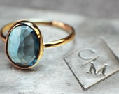 London Blue Topaz Ring - Rose Cut Topaz in Yellow Gold Ring