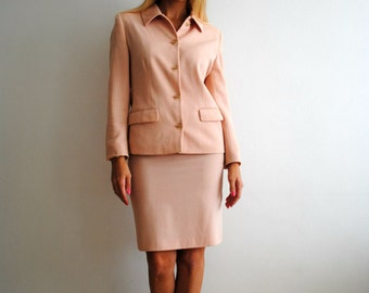 70s Peach Skirt Suit Size Small Vintage Womens Spring Fashion