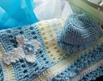 Baby Blanket Crochet Receiving Blanket with Matching Hat in Light Blue, Yellow and White with Cross