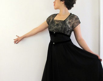 40's Vintage Illusion Lace Sheer Dress w rhinestones and velvet medium