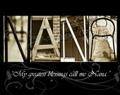 NANA Alphabet Photography Letter Art with quote (various sizes)