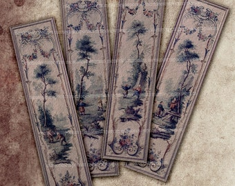 Chinoiserie Bookmarks Booklovers Bibliophile Antique Chinese Asian Chinois Blues Digital Collage Sheet Book Lovers Decoupage Paper 519