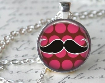 Mustache Necklace - Mustache Charm - Free Chain or Keyring (025)