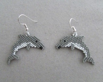 Dolphin Earrings in Delica seed beads
