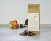 Organic Rose White Tea • 2 oz. Kraft Bag • Loose Leaf Blend with Rose Petals & Chrysanthemum Blossoms