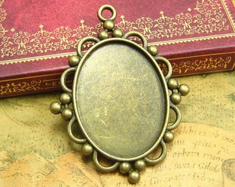 5 pcs Cameo Settings Antique Bronze Cameo Base Pendant Trays 40x30mm CH1680