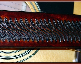 SNAKEBACK II Design • A Beautifully Hand Tooled, Hand Crafted Leather Guitar Strap