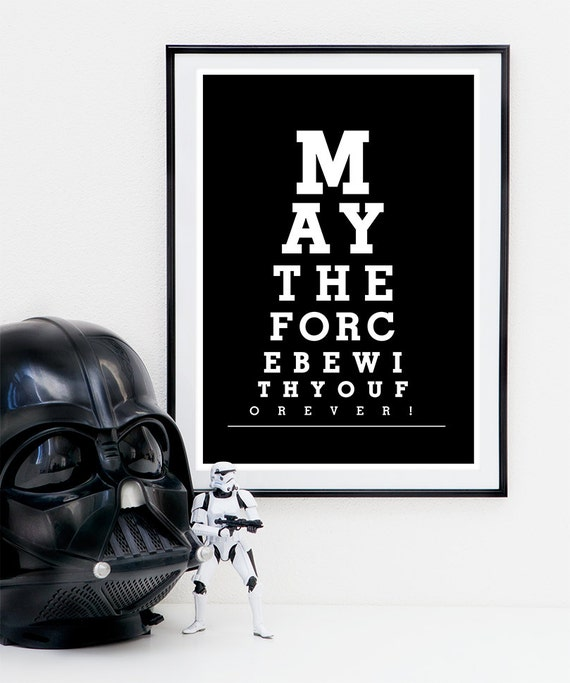 Star Wars Quotes The Force: Star Wars Print Movie Quote May The Force Be With You Black